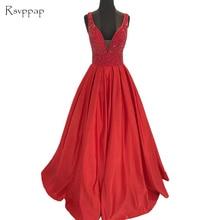 Long Evening Dress 2020 Stunning V-neck Beaded Crystals Floor Length Backless Women Red Evening Gowns