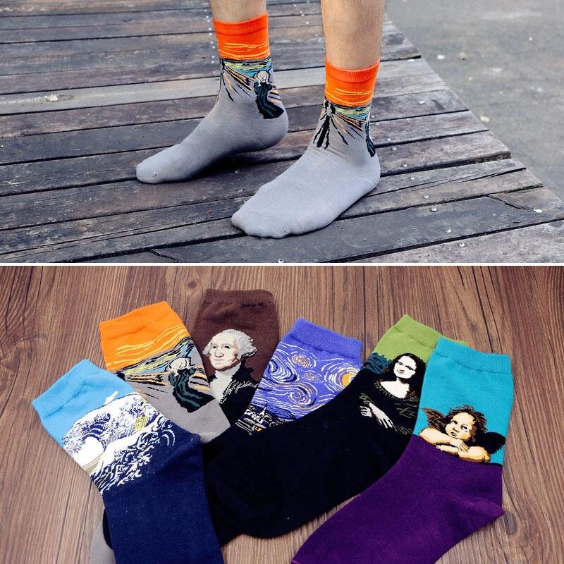 Носки для мужчин и женщин в стиле Харадзюку, популярные винтажные Носки с рисунком в стиле ретро, забавные носки для осени и зимы