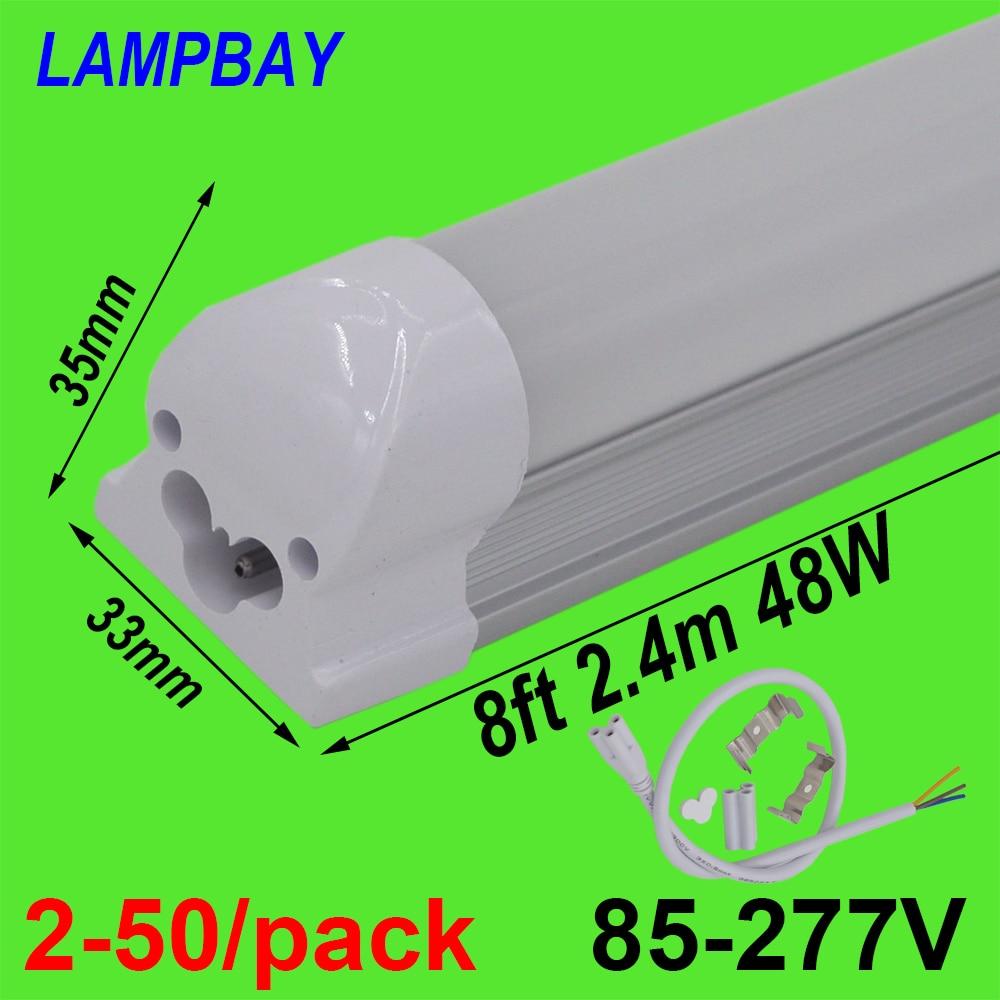 2-50/pack LED Tube Light 8 foot 2.4m T8 Integrated Bulb Fixture 40W 48W 8ft Bar Lighting Wall Lamp with fittings 110V 220V 277V