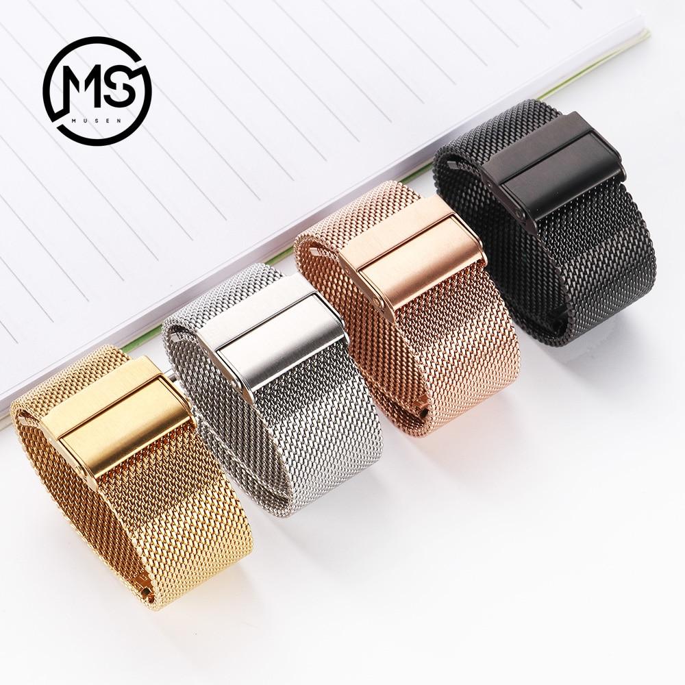 Milanese ремешок для часов 18 мм 20 мм 22 мм универсальный металлический браслет из нержавеющей стали iWatch аксессуары для браслетов черный, розовое золото, серебро