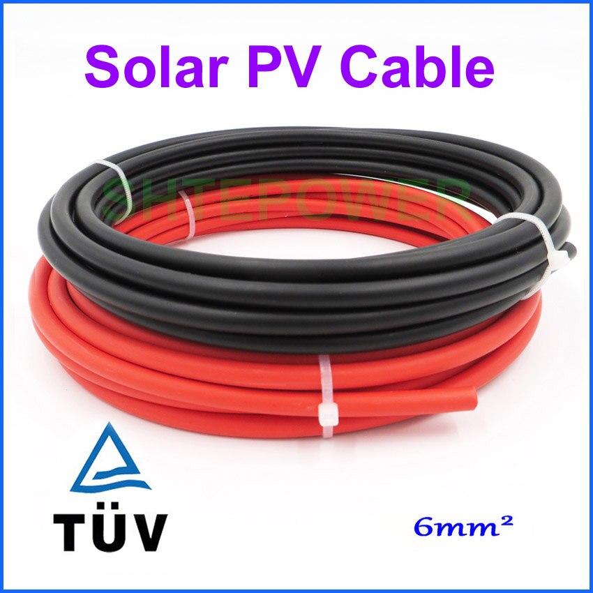 TUV PV الشمسية كابل 1x6mm2 الكثير تباع الأحمر أو الأسود ، استخدام ل نظام الطاقة الشمسية 20 متر/وحدة 20m الأحمر/10 أسود/10m الأحمر + 10m الأسود