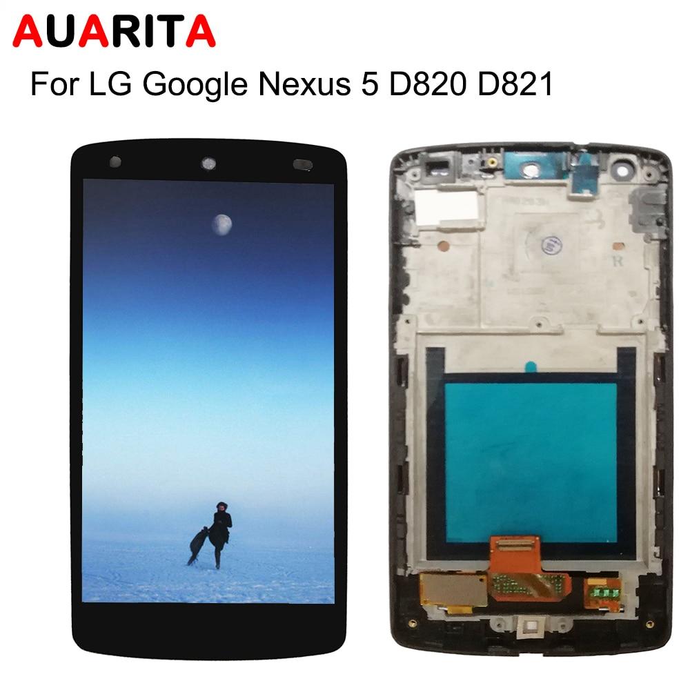 1 Uds lcd para LG Google Nexus 5 Nexus5 D820 D821 pantalla lcd con panel táctil Montaje del digitalizador de pantalla con marco de D820