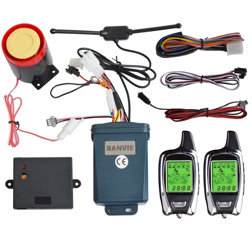 BANVIE OEM SPY 2-Way Motorcycle Motorbike Security Burglar Alarm System with Remote Engine Start Stop, Two LCD transmitters