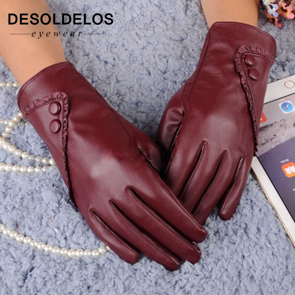 Luxurious Fashion Hot Solid Women Girl Leather Winter Super Warm leather women Gloves Cashmere 2019 winter gloves