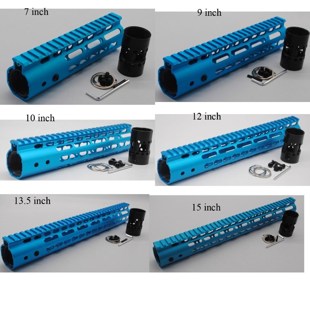 "TriRock Hot 7''9''10''12''13.5''15"" Length Ultralight Slim Keymod Free Floating Handguards Fore Rail Mount System Blue Anodized"