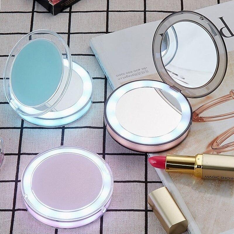 Espejo luz LED para Espejo De Maquillaje Mini 1X3X Espejo De aumento De Maquillaje compacto De mano plegable pequeño Espejo De bolsillo portátil