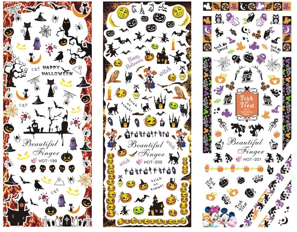 3 hojas/lote Serie de Halloween fantasma calabaza bate de bruja pegatina de transferencia al agua manicura Nail Art Sticker DIY Nail HOT Series