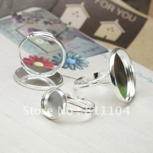 12mm Nickle Free Silver Plated Copper Blank Cap Tray Bases Y Finger Rings Settings 4 Diy Glass CABs Jewelry Findings Wholesale
