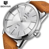 BENYAR Quartz Men's Watches Fashion Business/Waterproof/Sport Watch Men Leather Double Calendar Wrist Watches Relogio Masculino