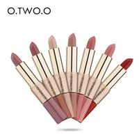 O.TWO.O 12PCS/LOT 2 in 1 Matte Lipstick Makeup Waterproof Long-lasting Lip Gloss Liquid Lipstick 12 Colors Nude Lip Lipsticks