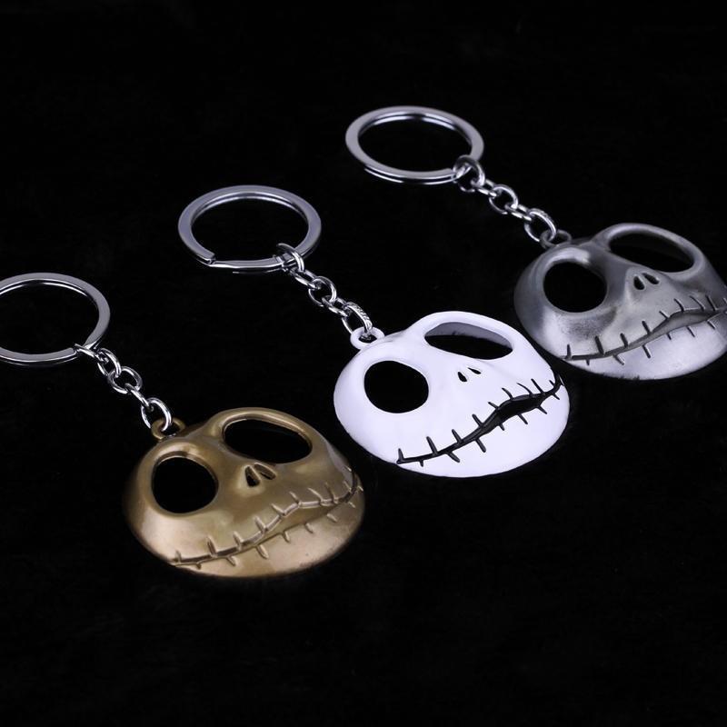 The Nightmare Before Christmas Pumpkin King Santa Jack Keychain Skull Head Skellington Men Key Chain Movie Jewelry llaveros