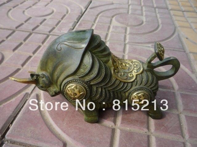Wang 000270 Vieja China (1742-1789) estatua de Bronce/escultura de la vaca, el mejor adorno del collection &