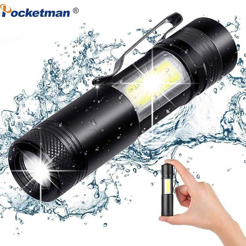 3800LM XML-Q5 + COB светодиодный фонарик Портативный супер яркий регулируемый фонарик использование AA 14500 батарея водонепроницаемый в жизни освещение фонарь