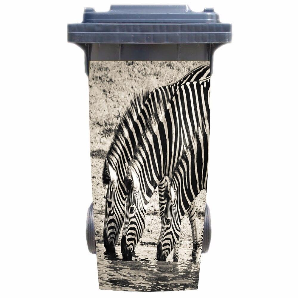 Pegatina 3D Zebras cubo de basura para bebidas papel pintado mural Impresión de pared calcomanía Mural extraíble para pared foto autoadhesivo regalo