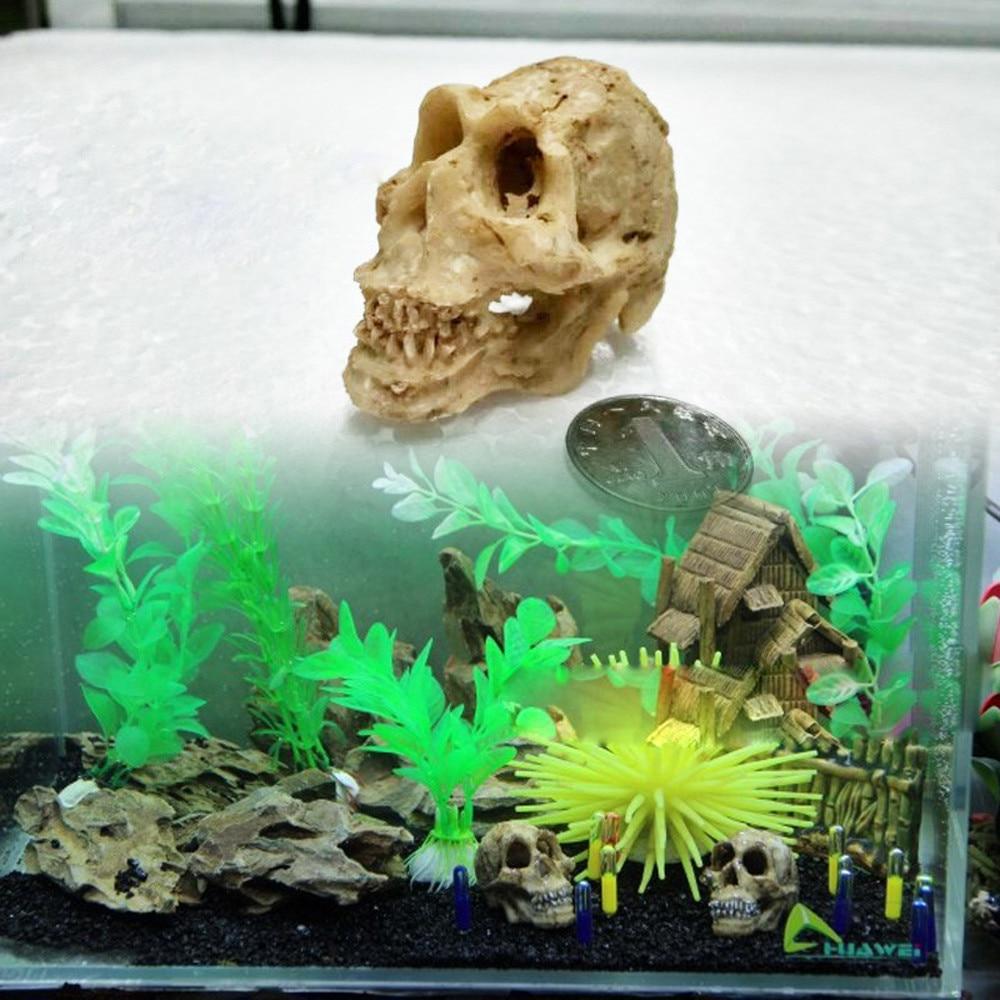 Resina para Halloween isla hueso de la cabeza cráneo ESTATUA PARA Terrario de lagartos reptil ocultar cueva acuario pecera paisaje ornamento
