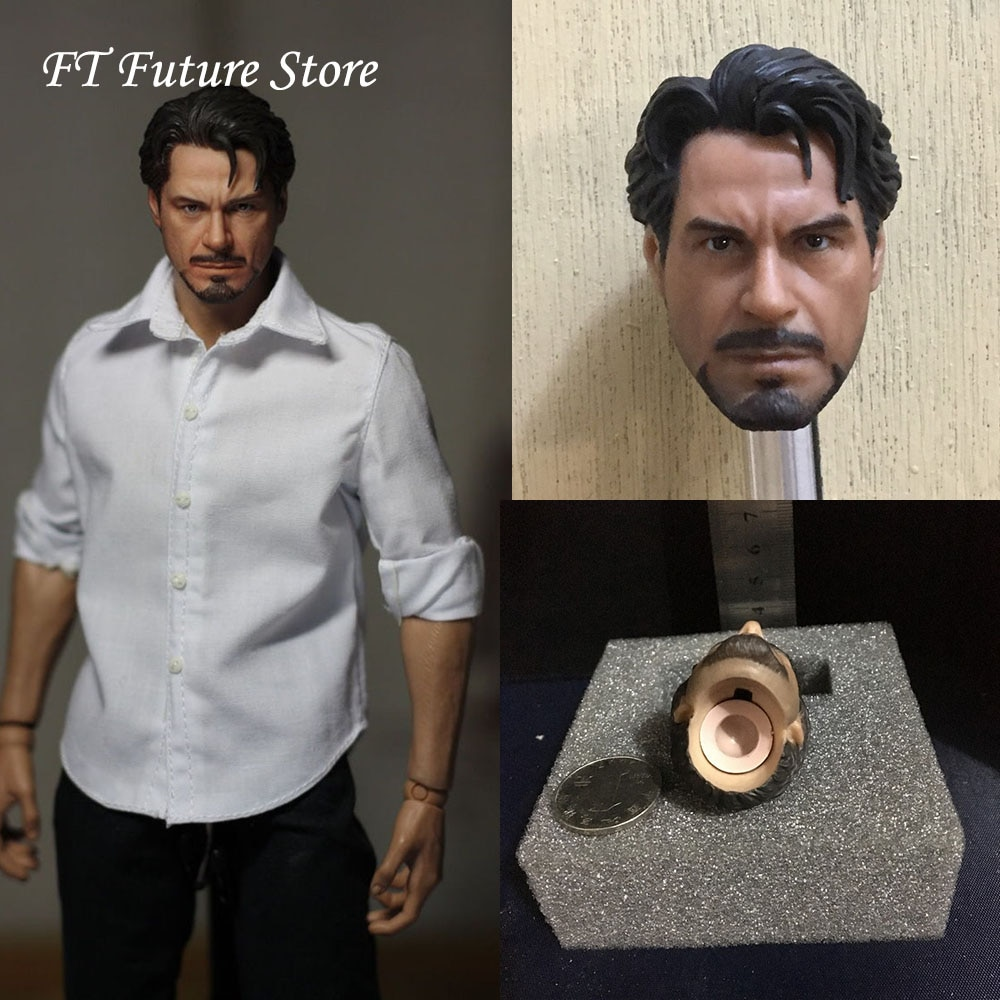 For Collection 1/6 Scale Male Head Sculpt Carved PVC Tony Head Clothes Body Accessory for 12'' Action Figure 1 6 scale marlon brando head sculpt the godfather corleone head carving for 12 inches male figure body with gift