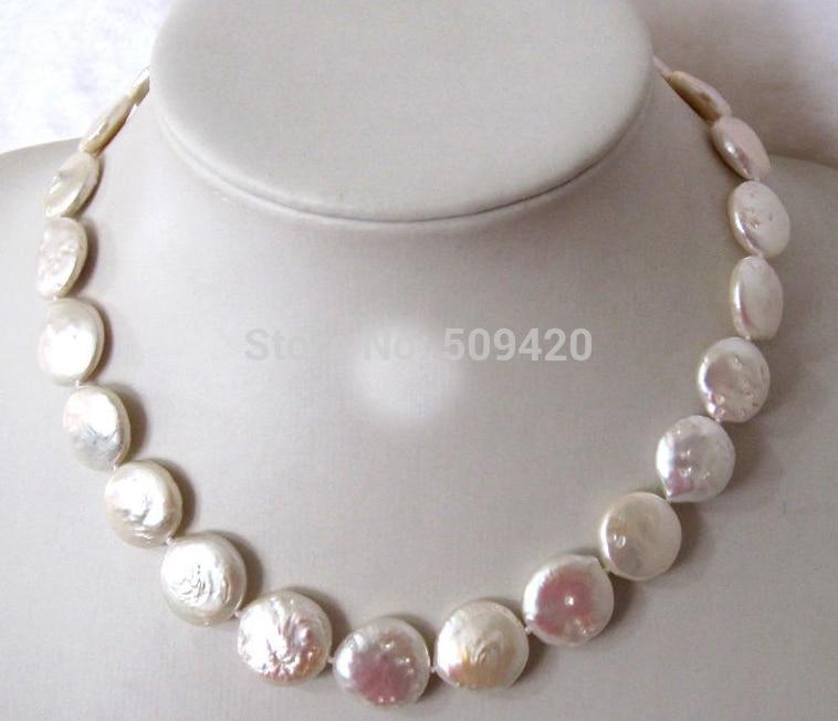 """~~ Envío gratis 17 """"14-15mm moneda blanca de agua dulce Cadena de collar de perlas joyería"""