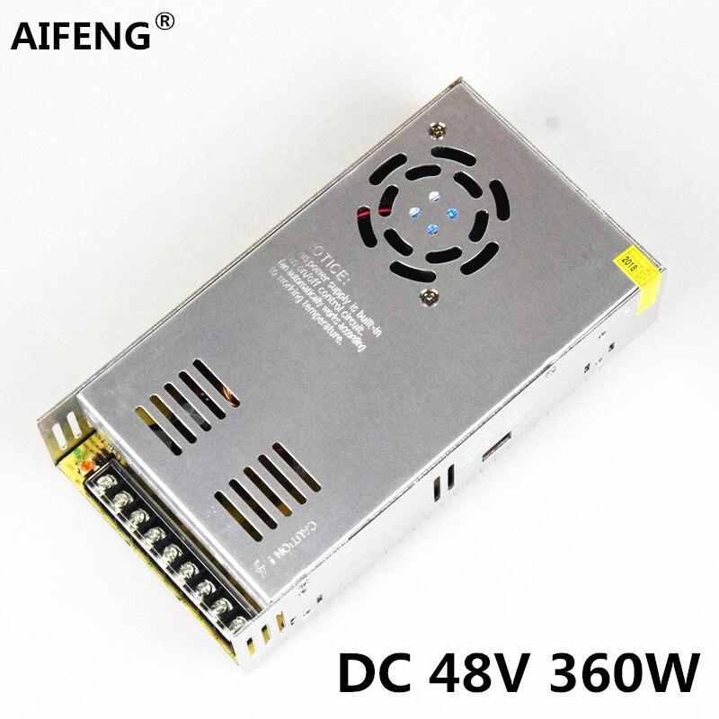 Aifeng 48v fonte de alimentação 360 w 7.5a ac110v/220 v para dc 48v comutação da fonte de alimentação transformadores para o motor da luz de tira conduzida