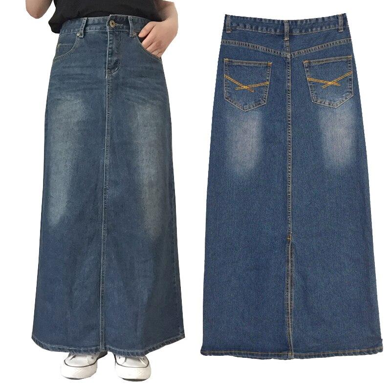 2018 verano otoño Vintage Oficina Split recta femenina Falda larga Jeans para mujeres/Denim Maxi faldas para mujeres