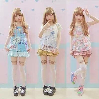 Adorable verano lindo algodón suave Anime patrón camisa mujeres chicas dulce Lolita Japón Kawaii mujeres Tops oso gato conejito T camisas