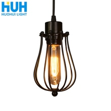 W stylu Vintage klatka żyrandol oświetlenie typu Edison żarówka loft restauracja zawieszka do sypialni LED oświetlenie przemysłu żelazo, w stylu Vintage u nas państwo lampy dla domu