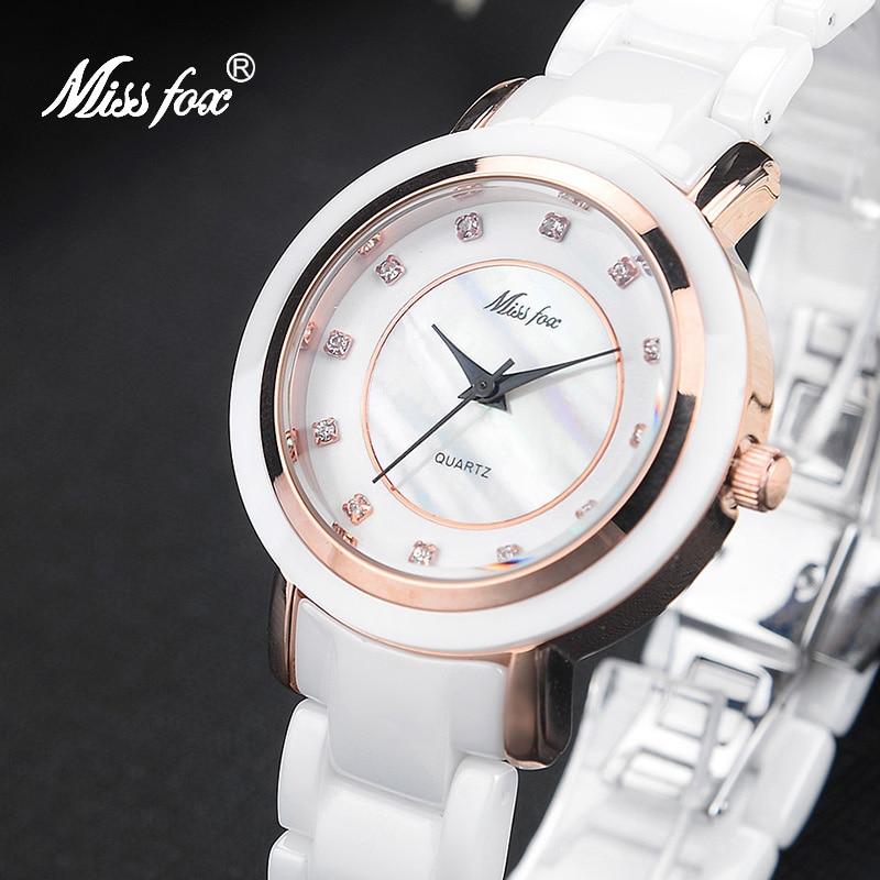MISSFOX белые керамические часы модный бренд розовое золото часы для женщин керамический подарок сталь Бабочка застежка супер крутые летние ч...