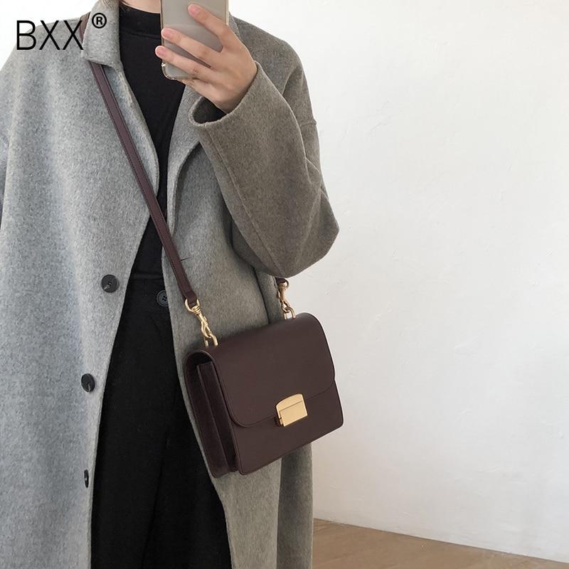 [BXX] Women's Single Shoulder Crossbody Bag All-match Flap 2021 Fashion Solid Color PU Leather Lock Package Female Bag HF555