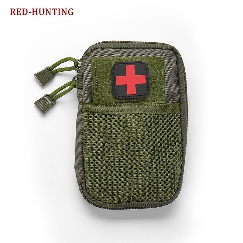 MOLLE bolsas tácticas EDC, bolsa de cintura deportiva para aficionados del ejército con pegatinas de cruces rojas, bolsa de caza de bolsillo de combate militar
