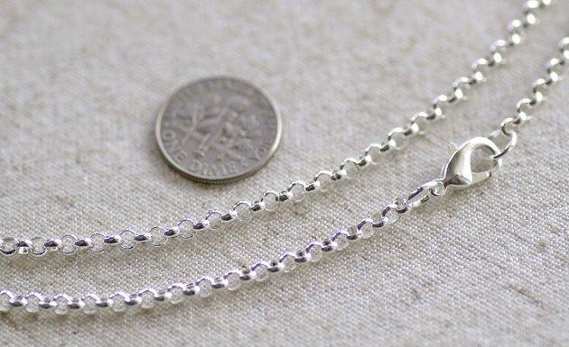 """¡Envío Gratis! 100 unids/lote de plata Rolo plateado collar de cadena en blanco con cierre de langosta 32 """"L"""