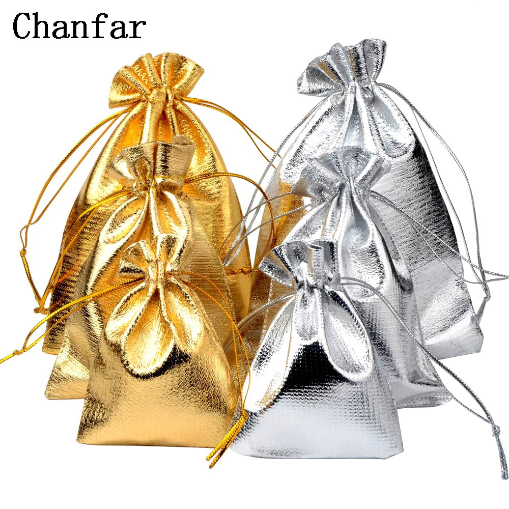 50pcs/bag 7x9cm 9x12cm 10x15cm Adjustable Jewelry Packing silver/ gold colors drawstring Velvet bag,Wedding Gift Bags & Pouches