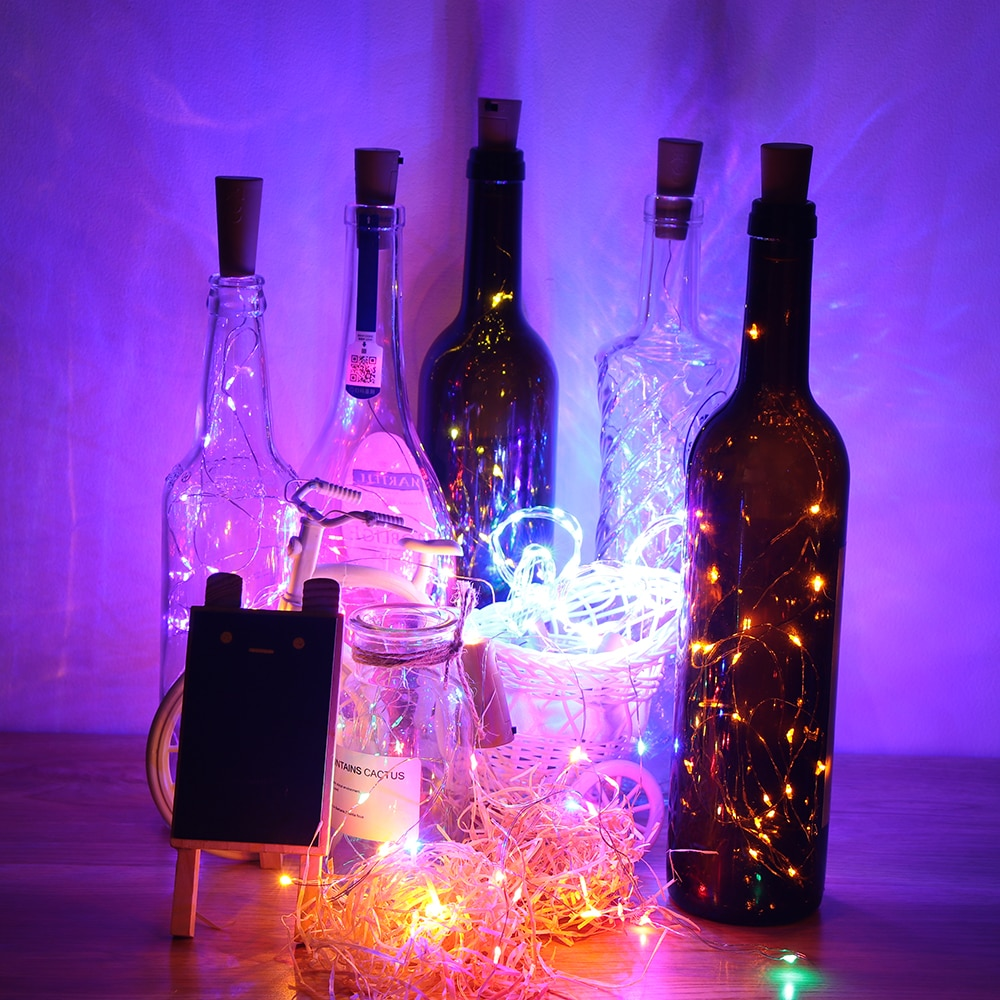 8 colores 1 M/2 M LED botella de vino corcho luces de cadena de alambre de cobre luces boda fiesta decoración lámpara vino tapón