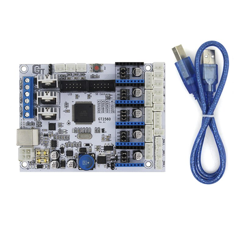 Placa de Control de impresora 3D GT2560 placa base soporte doble extrusora potencia que ATmega2560 Ultimaker rampas 1,4 controlador RepRap