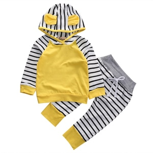 2Pcs/Set ! Ins hot yellow striped Outfits Set Newborn Autumn Winter Baby Boys Girls Clothes Striped ear Tops +Leggings Pants