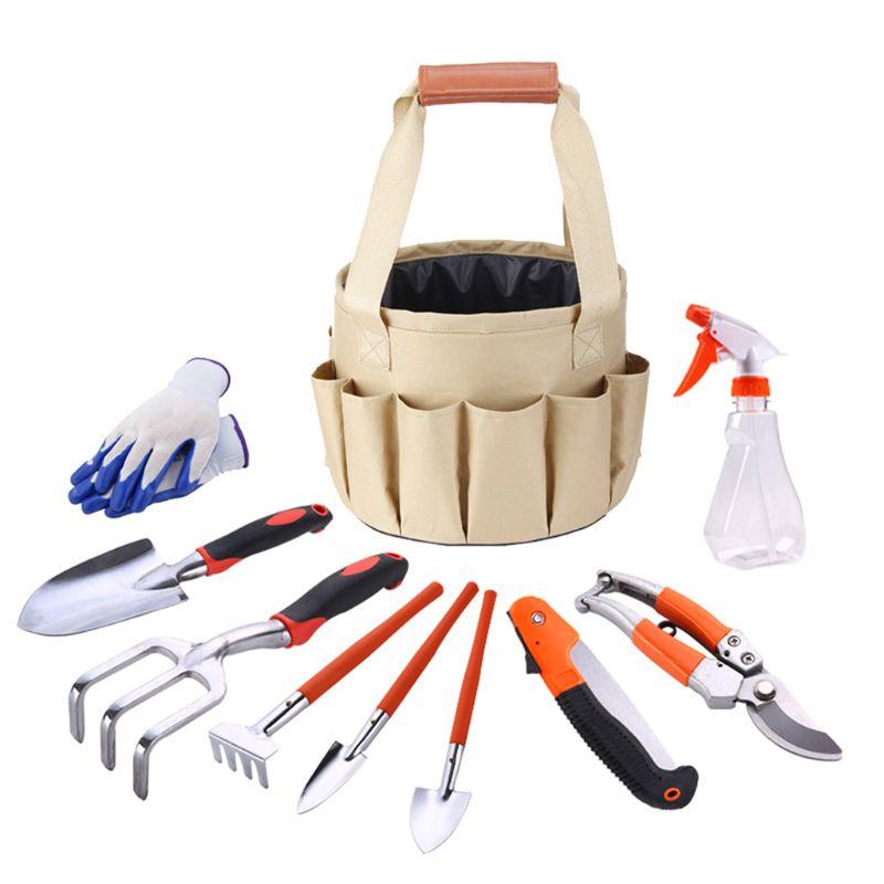 Nouveaux produits ensemble doutils de jardin 10 pièces/ensemble kit de rangement facile Portable Kit de jardin multifonctionnel pratique/truelle/râteau