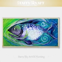 free shipping cheap price hand painted high quality modern fish oil painting on canvas special big fish oil painting for decor