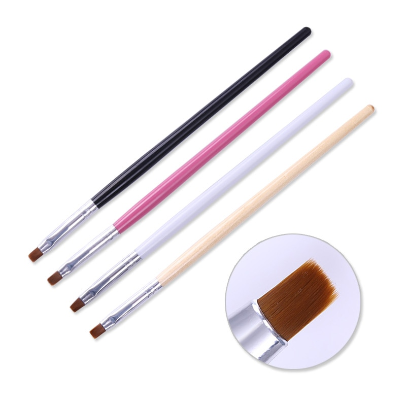 1 Pc Nail Powder Dust Clean Brush Flat Cuticle Wood Handle Nail Glittering Cleaning Brushes Pen Mani