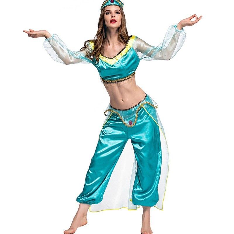 2 Conjunto pedaço Adultos Traje Trajes de Halloween Para As Mulheres Sexy Azul H9254 Aladdin Princesa Jasmine Cosplay Roupas Femininas