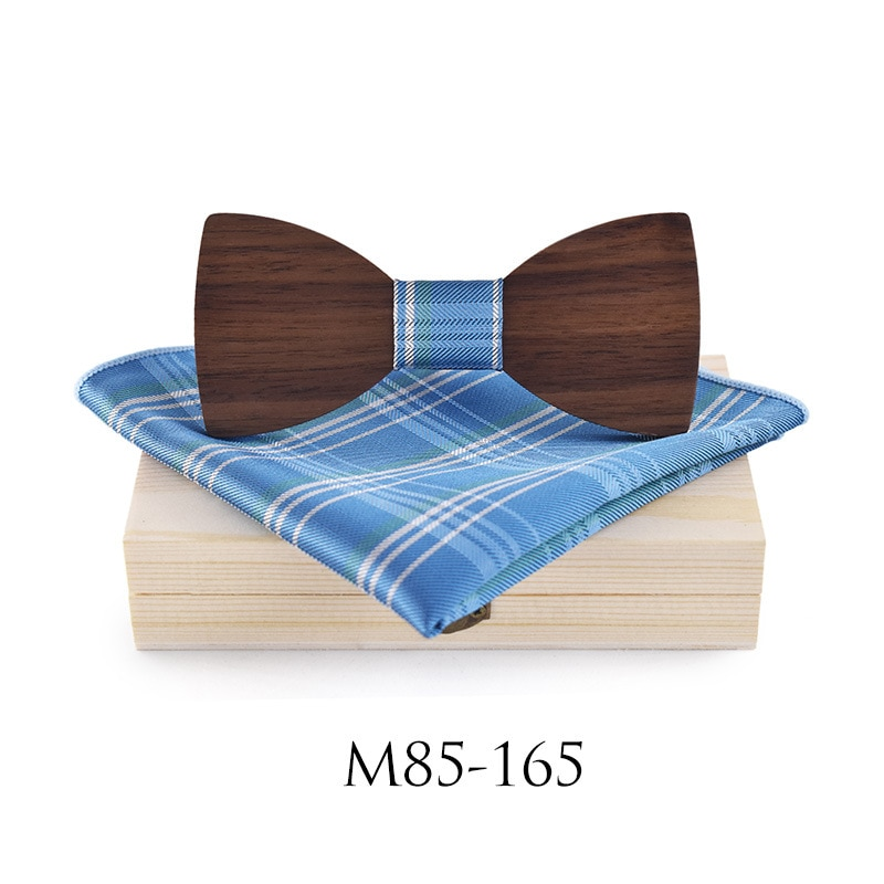Fashion Wood Gentleman Pocket Square Broth Brooch Bow Ties Handmade Butterfly Wedding Party Wooden Tie Suit