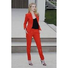 Nouveau sur mesure Orange 2 pièce costume femmes costumes ajustés pantalons costumes pour dames femme spectacle porter B192
