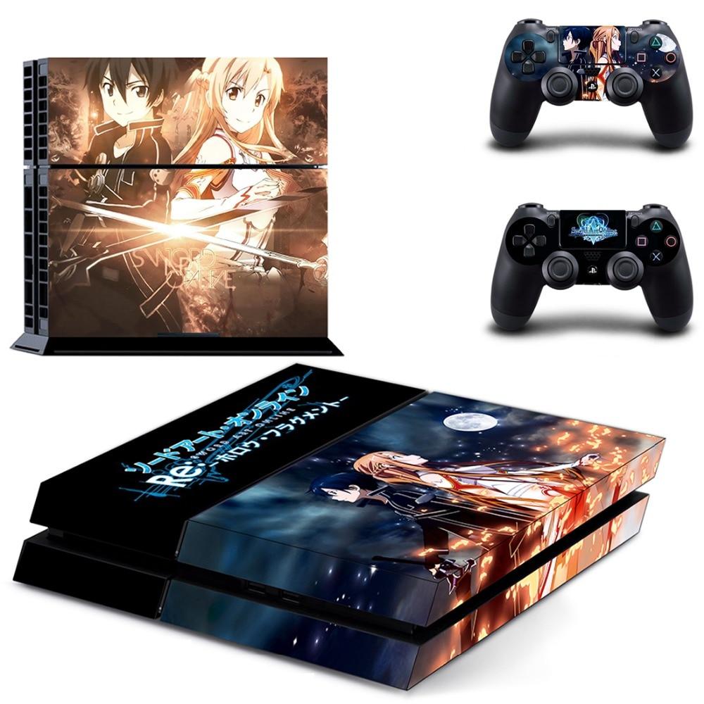 Espada de juego Art Online, pegatina de vinilo para Sony Playstation 4, consola y controlador PS4, pegatina de piel