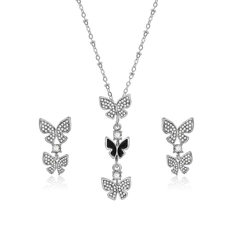 Conjunto de joyas con colgante de mariposa de plata Vintage para niñas, regalos para chico, pendientes de gota bonitos de esmalte de cristal para mujer, conjuntos de collar T