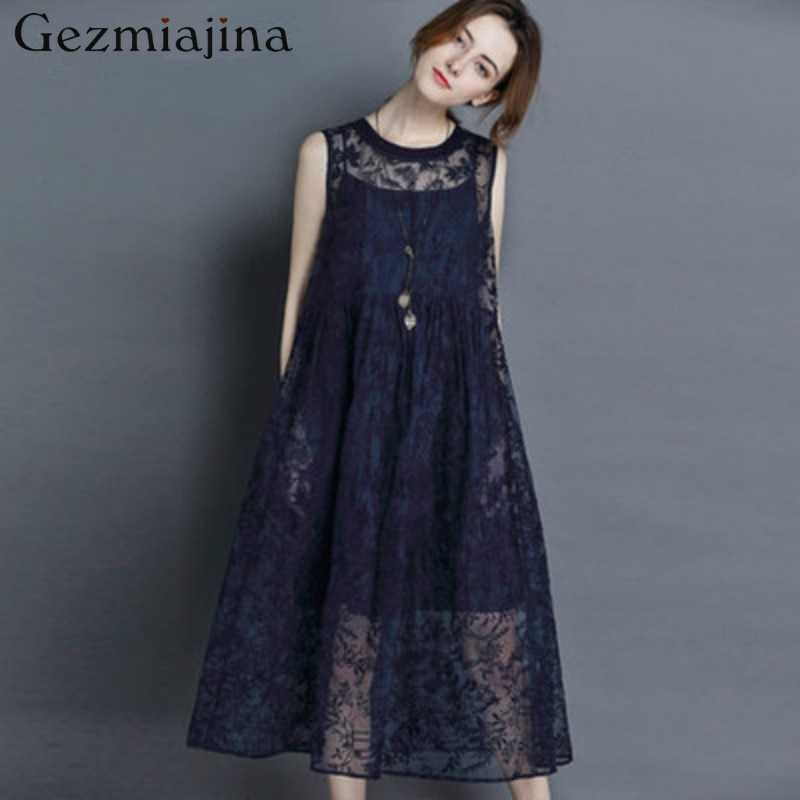 Summer maternity clothes Pregnancy dress New fashion Embroidered silk organza thin dress with no sleeveless vest Loose enlarge