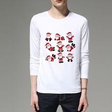 Merry Christmas Men 3D Cartoon T Shirt Long sleeves Print Santa Claus Boy Shirts Casual Brand Tops Christmas Tshirt 46C-11#