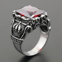 Énorme rouge CZ pierre 316L acier inoxydable couronne hommes Biker Rocker Punk anneau cubique zircone anneau 6L001