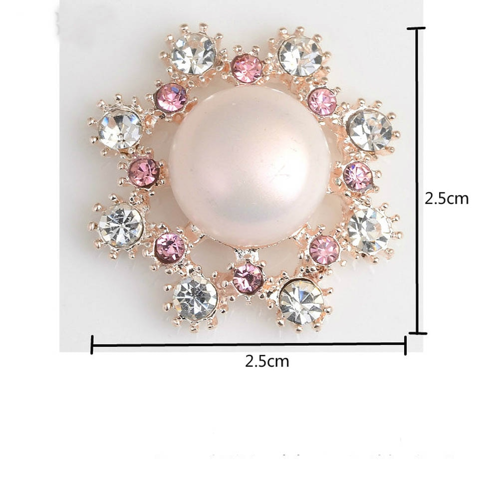 Купить с кэшбэком 5Pcs/Lot Pearl Crystal Rhinestone Buttons Flatback Embellishment for Craft DIY Hair Bow Wedding Shoes Metal Decorative Buttons