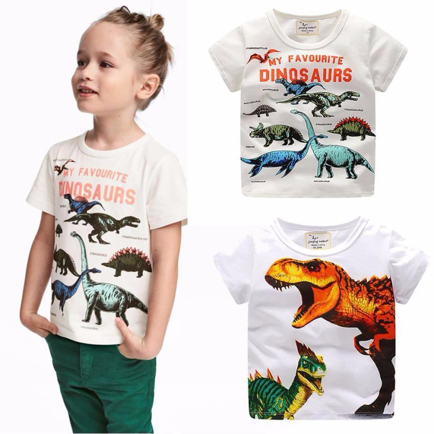 2018 Boys Short Sleeve T Shirts Summer Shirt Kids Baby Short Sleeve Children Clothing dinosaur printed tshirt Vestido Infantil