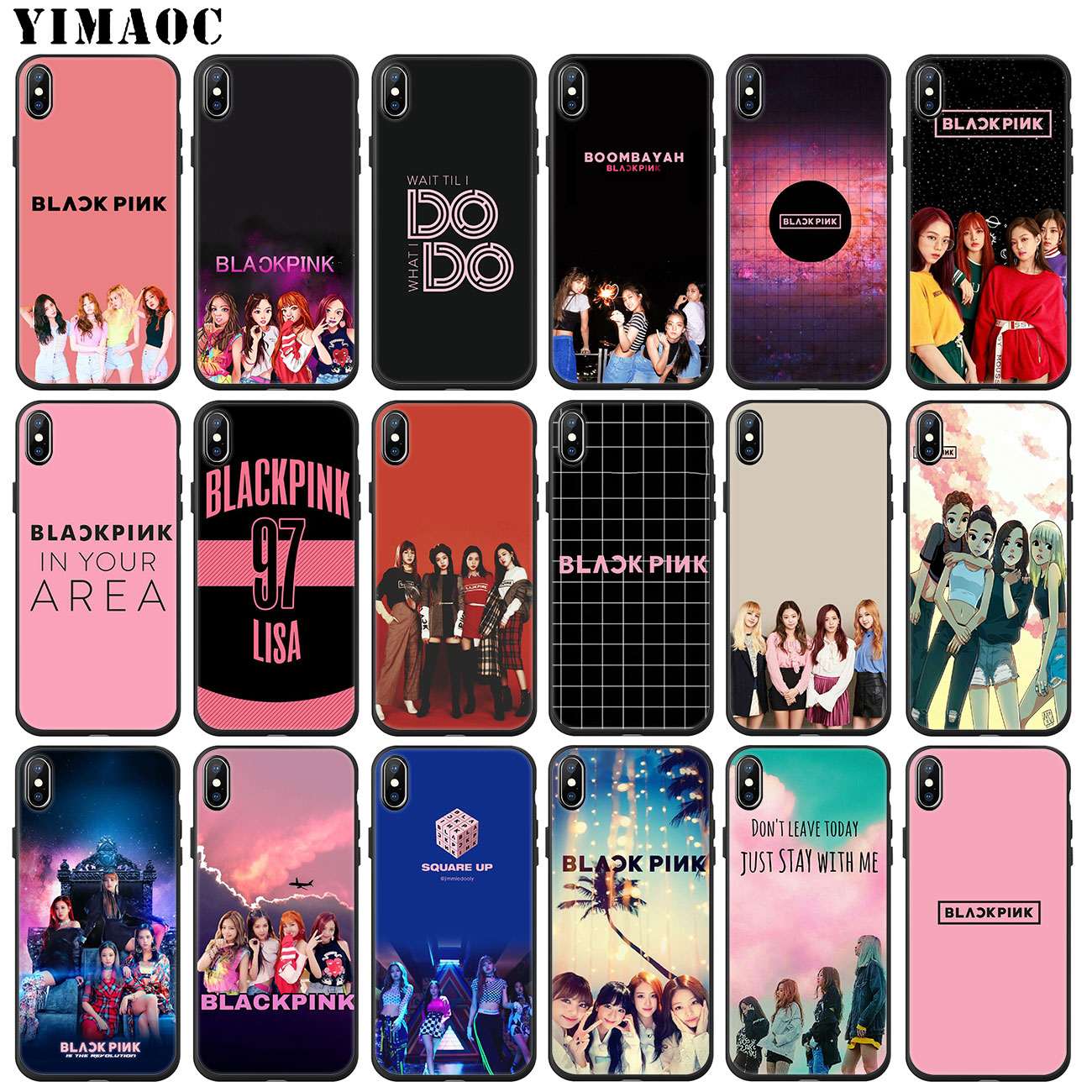 YIMAOC JENNIE BLACKPINK Kpop LISA suave de la caja del teléfono de silicona para iPhone 11 Pro XS Max XR X 6 6S 7 7 8 Plus 5 5S SE 10 cubierta negro
