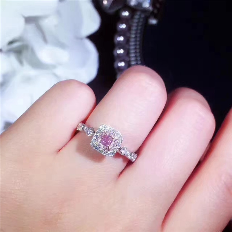 Anillos de amatista de 14K de oro rosa con diamantes cuadrados para bodas, anillos de amatista con piedras preciosas para mujeres, anillos de jade, joyería de peridoto Bizuteria