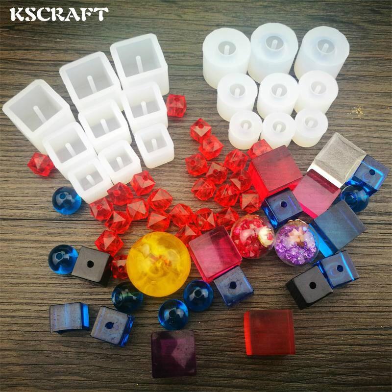 KSCRAFT moule en silicone perles à pendentif   1 pièce, dessins de différentes formes, Cabochon moule en résine, artisanat fait à la main, bricolage