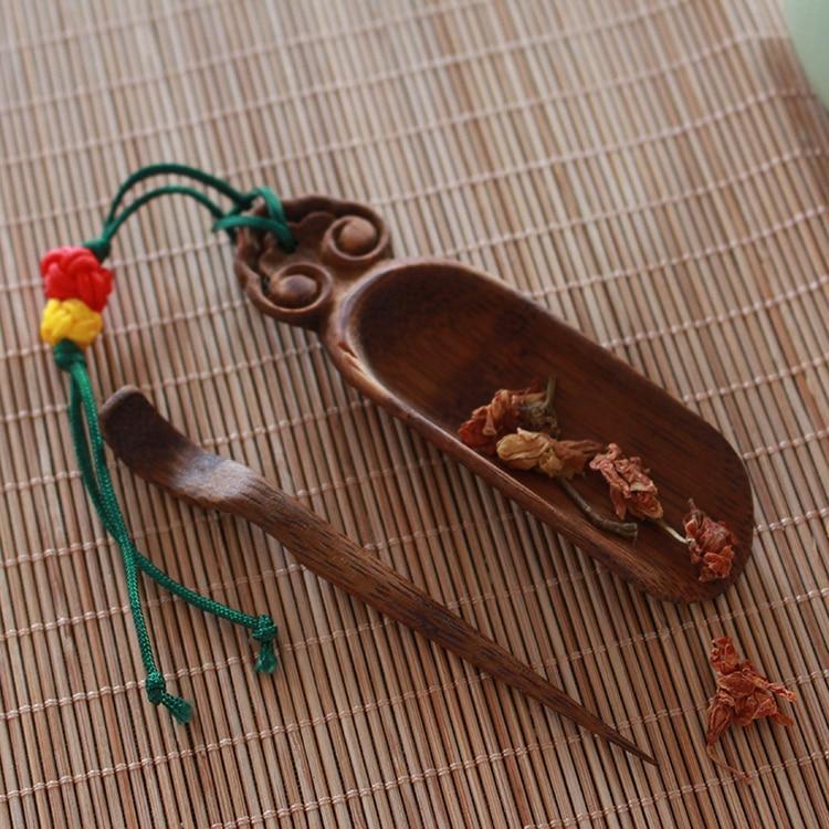 Mini cuchara para té de bambú y agujas de té Kungfu accesorios de herramientas de té creativo Ruyi mango Natural y Color café